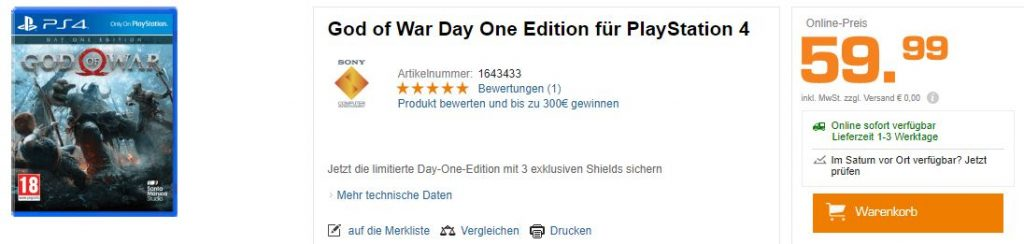 God of War PS4 Angebot